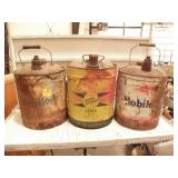 3 OLD OIL CANS