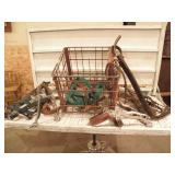 MISC HORSE TACK IN METAL CRATE