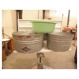 2 STEEL 1 PLASTIC WASH TUBS