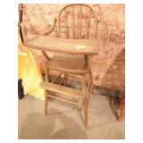ANTIQUE WOOD CHILDS HIGH CHAIR
