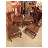 4 ANTIQUE LEATHER SEAT CHAIRS