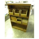WOOD SHELF W/ ROLL TOP CONTAINERS