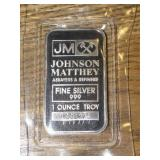 JOHNSON MATTHEY 1 TROY OUNCE SILVER BAR