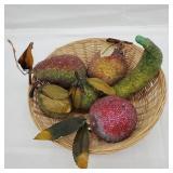 Beaded Artificial Fruit in Wicker Basket