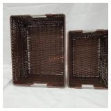 Woven Plastic Baskets on Metal Frame