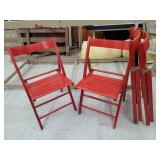 4 Wood Folding Red Chairs