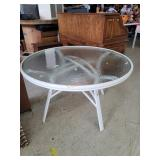 Outdoor Metal Framed Table w/ glass top