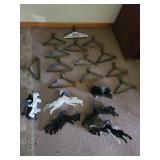 90 assorted plastic and metal coat hangers