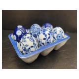 6 Ornate Blue Porcelain Eggs in Holder
