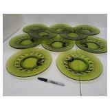 (10) Vtg. Colony Green Glass Snack Plate Set