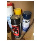 BOX OF ASSORTED SPRAY CANS, ETC