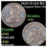 1833 O-114 R2 Capped Bust 50c Grades vf++