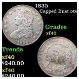 1835 Capped Bust 50c Grades xf