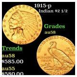 1915-p Indian $2 1/2 Grades Choice AU/BU Slider