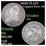 1830 O-122 Capped Bust 50c Grades f, fine