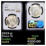 1923-p Peace $1 Graded ms64