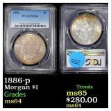1886-p Morgan $1 Graded ms64