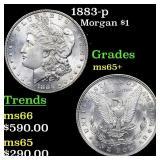 1883-p Morgan $1 Grades GEM+ Unc