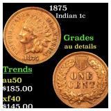 1875 Indian 1c Grades AU Details