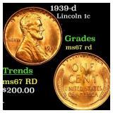1939-d Lincoln 1c Grades GEM++ Unc RD