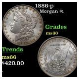 1886-p Morgan $1 Grades GEM+ Unc