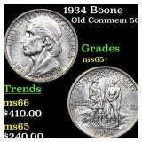 1934 Boone Old Commem 50c Grades GEM+ Unc