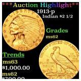 *Highlight* 1913-p Indian $2 1/2 Grades Select Unc