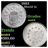 1882 Shield 5c Grades Choice Unc