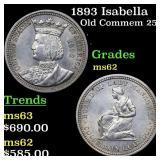 1893 Isabella Old Commem 25c Grades Select Unc