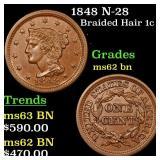 1848 N-28 Braided Hair 1c Grades Select Unc BN