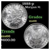 1888-p Morgan $1 Grades GEM+ Unc
