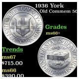 1936 York Old Commem 50c Grades GEM++ Unc
