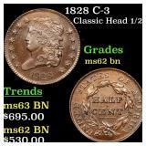 1828 C-3 Classic Head 1/2c Grades Select Unc BN