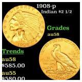 1908-p Indian $2 1/2 Grades Choice AU/BU Slider