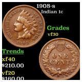 1908-s Indian 1c Grades vf++