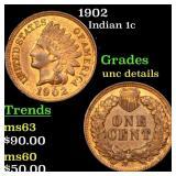 1902 Indian 1c Grades Unc Details