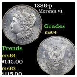 1886-p Morgan $1 Grades Choice Unc