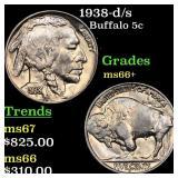 1938-d/s Buffalo 5c Grades GEM++ Unc