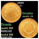 1866 2c Grades Choice+ Unc RB