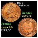 1899 Indian 1c Grades GEM Unc RB
