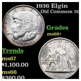 1936 Elgin Old Commem 50c Grades GEM++ Unc