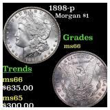 1898-p Morgan $1 Grades GEM+ Unc