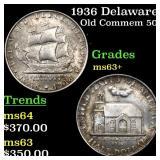 1936 Delaware Old Commem 50c Grades Select+ Unc