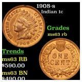 1908-s Indian 1c Grades Select Unc RB
