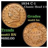 1834 C-1 Classic Head 1/2c Grades Select Unc BN