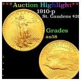 *Highlight* 1910-p St. Gaudens $20 Grades Choice A