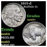 1915-d Buffalo 5c Grades Select+ Unc