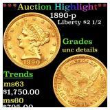 *Highlight* 1890-p Liberty $2 1/2 Grades Unc Detai