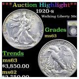 *Highlight* 1920-s Walking Liberty 50c Graded Sele