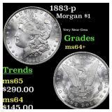1883-p Morgan $1 Grades Choice+ Unc